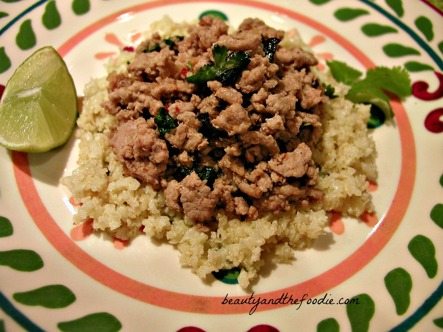 Thai Style Turkey with Cilantro Lime Rice / beautyandthefoodie.com