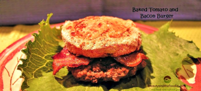 Baked Tomato and Bacon Burger, paleo and low carb / beautyandthefoodie.com