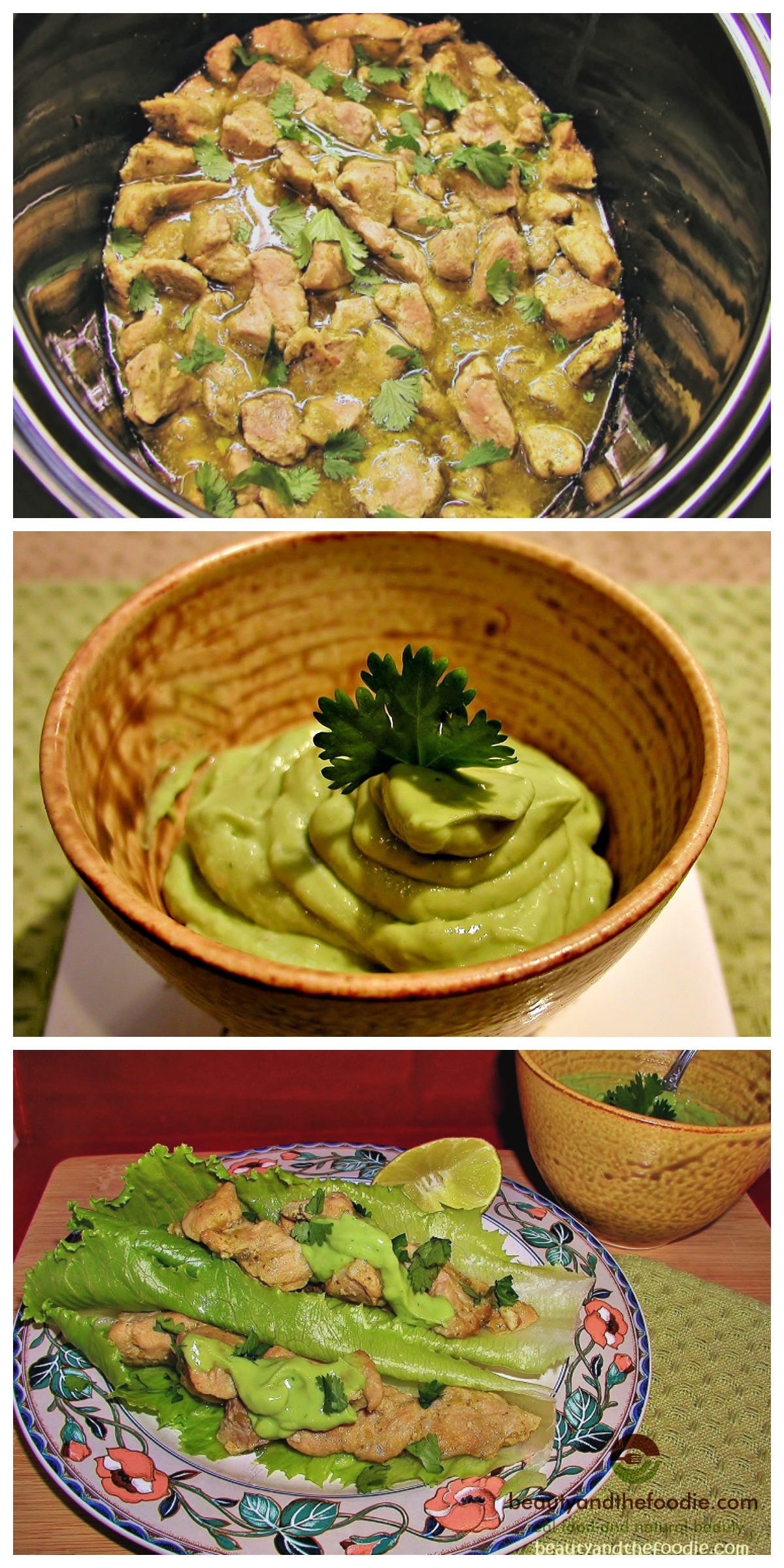 Paleo Crock Pot Chile Verde Tacos with Avocado Cilantro Lime Sauce, primal, paleo and low carb.