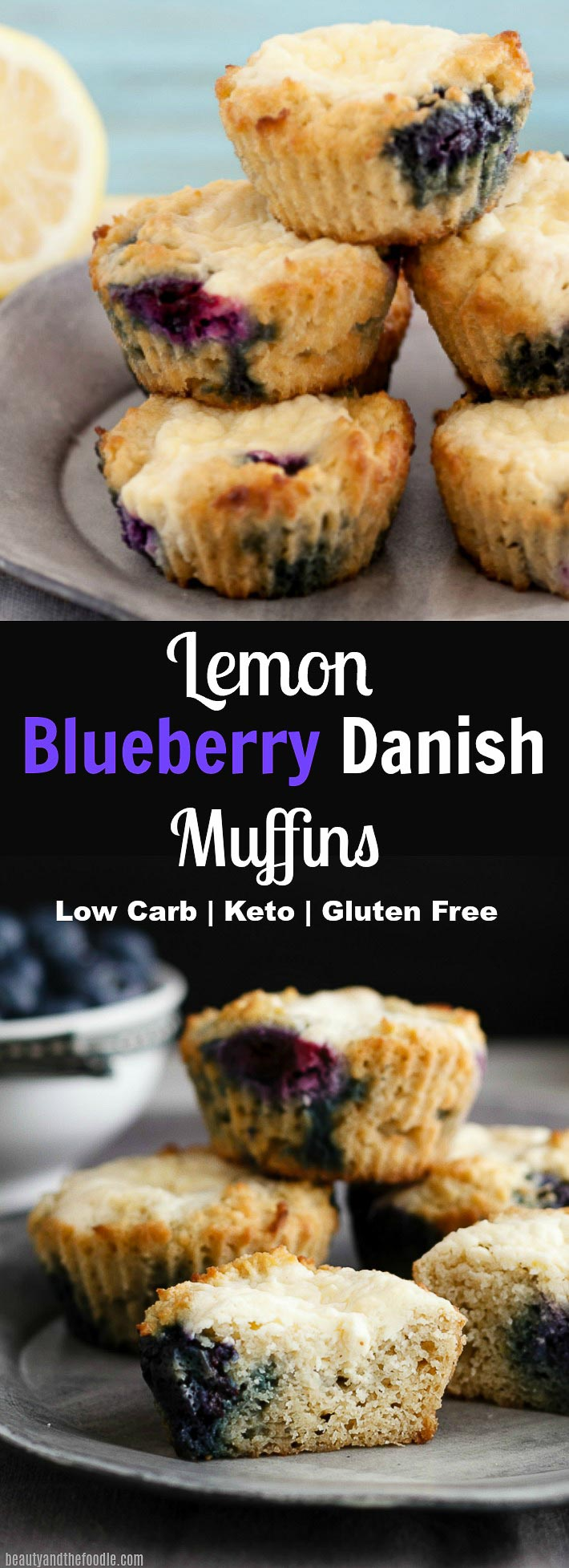 Lemon Blueberry Cheese Danish Muffins- Low Carb & Gluten Free