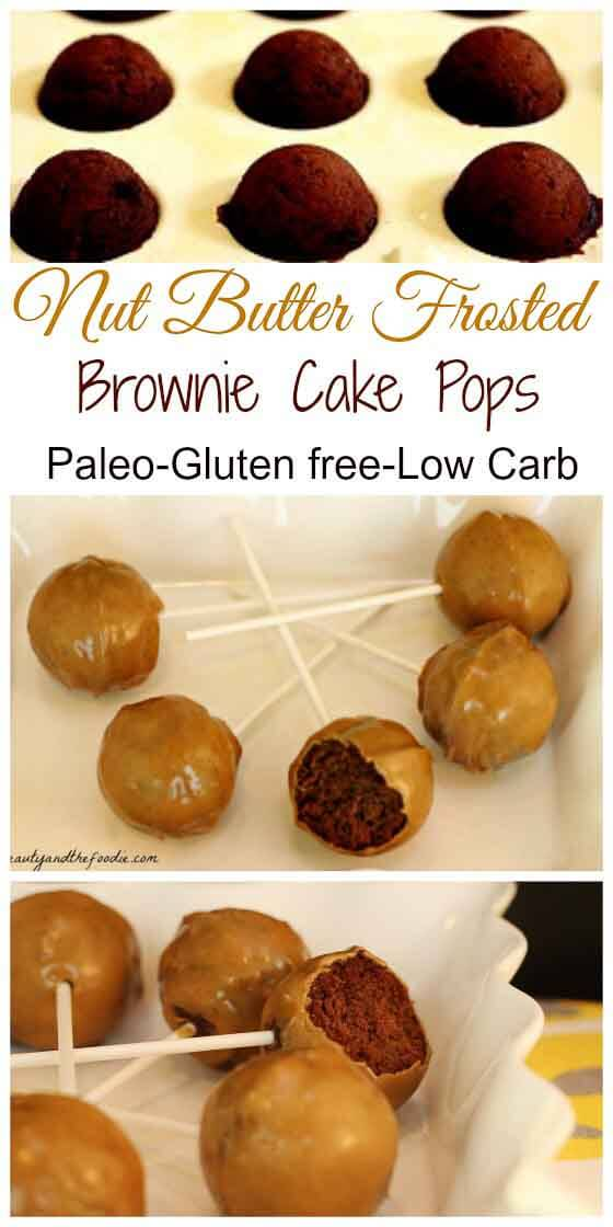 Nut Butter Frosted Paleo Brownie Pops, grain free, paleo and low carb option.