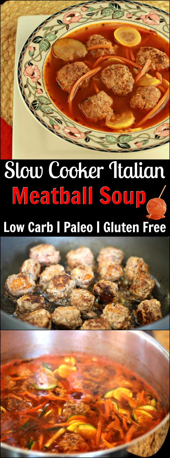 Paleo Italian Meatball Soup- Low carb and paleo