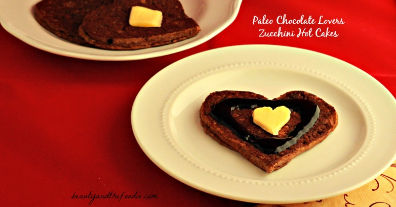 Paleo Chocolate Lovers Zucchini Hotcakes with chocolate maple syrup / beautyandthefoodie.com