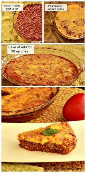 Easy paleo Hamburger Pie, crust free, low carb.