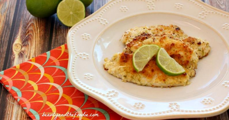 Garlic Lime Fillet of Fish with garlic lime butter/ grain free, paleo , low carb / beautyandthefoodie.com