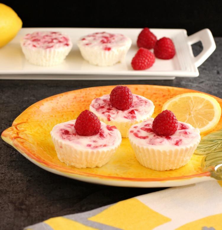 Raspberry Lemon  No-Bake Cheesecake Bites- Low Carb & Keto