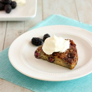 Easy Blackberry Bread Pudding Upside Down Cake - Grain free, paleo and low carb.
