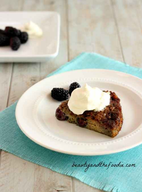 Blackberry Bread Pudding Cake, grain free, paleo and low carb. beautyandthefoodie.com