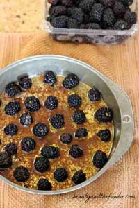 blackberry bread pudding cake, bottom fruit layer. beautyandthefoodie.com
