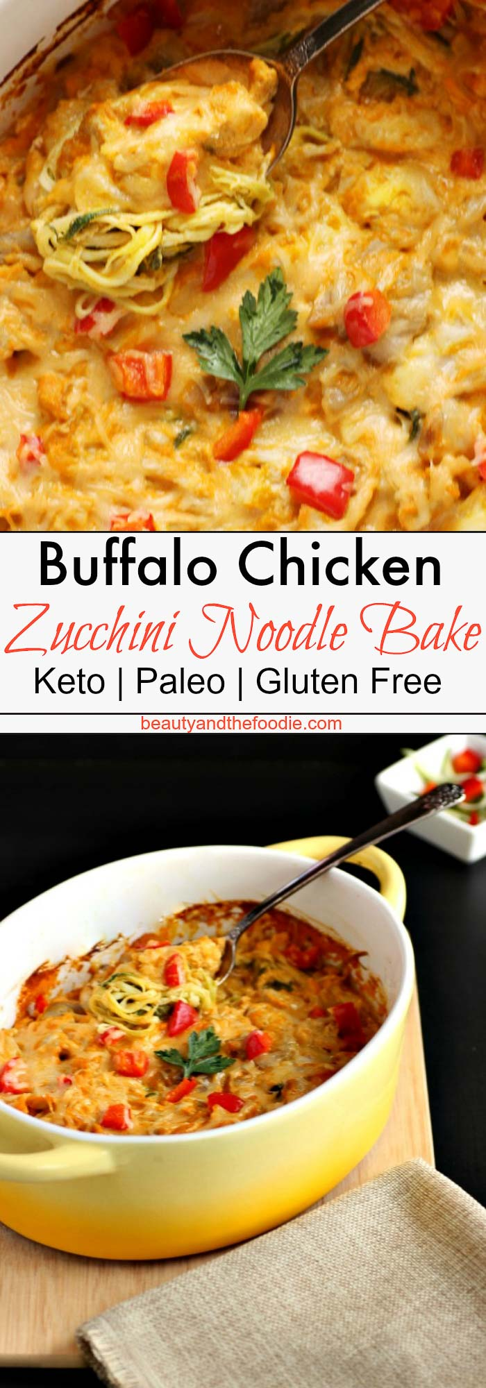 Creamy Buffalo Chicken Zucchini Noodle Bake- Low Carb, Keto and Gluten Free