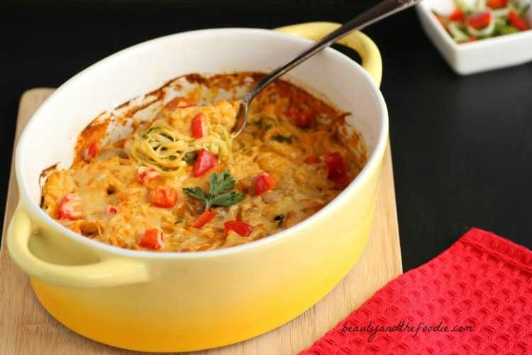 Creamy Buffalo Chicken Zucchini Noodle Bake. Grain free and low carb. beautyandthefoodie.com
