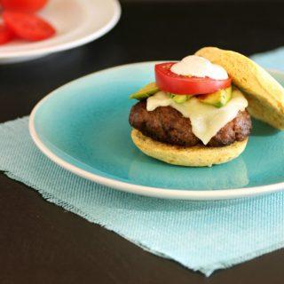 Taco Burgers on Paleo Burger Buns. Low carb Taco seasoned burgers with chipotle mayonnaise on burger buns