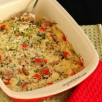 Italian Cheesy Sausage and Zucchini Noodle Bake, grain free and low carb