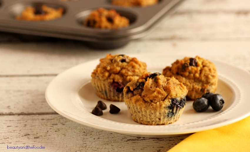 Chocolate Chip Berry Fiber Muffins - Low carb and paleo