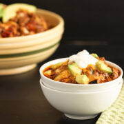 Easy Chili Faux Mac Skillet. Grain free and low carb