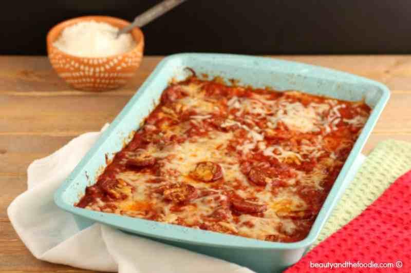 Pizza Squash Noodle Lasagna Bake, Grain free, low carb, Italian, cheesy, comfort food