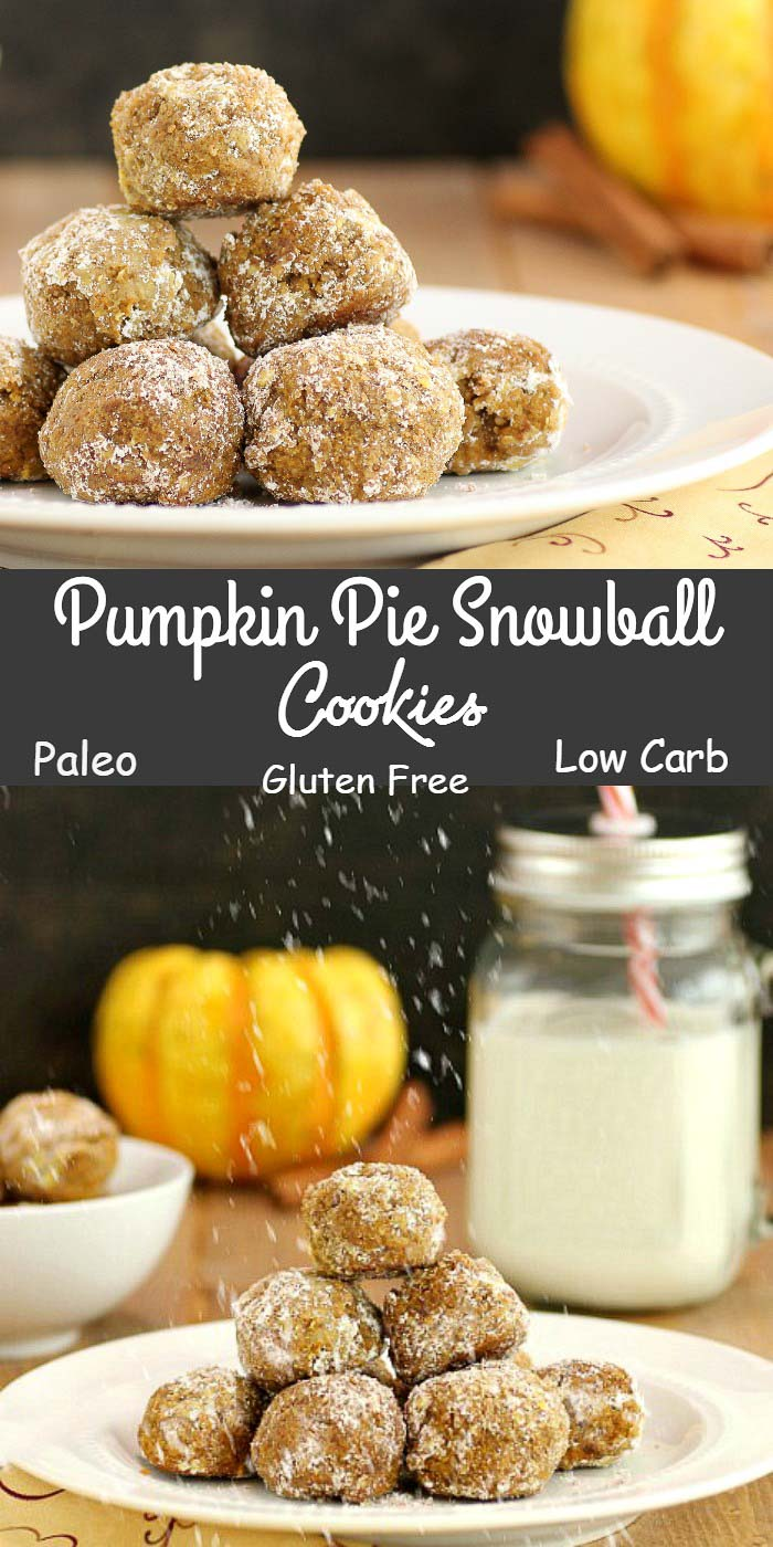 Pumpkin Pie Snowball Cookies  are  paleo, gluten free and low carb. Oh, so very yummy!!