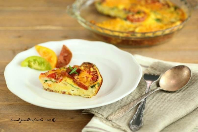 Bacon Spinach Tomato Ricotta Frittata. grain free, primal and low carb