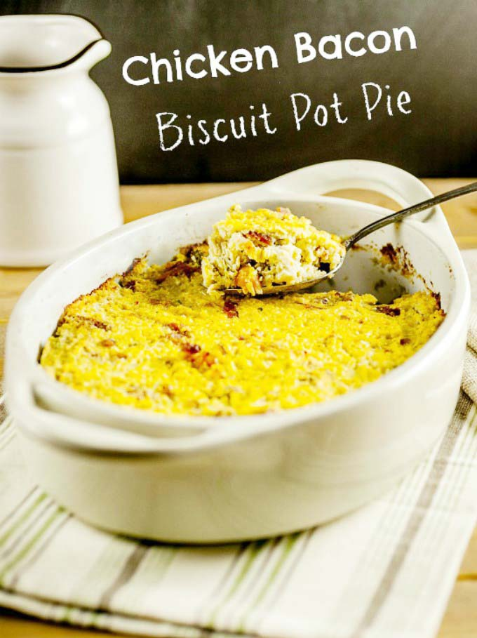 Chicken Bacon Biscuit Pot Pie- Paleo and Low Carb