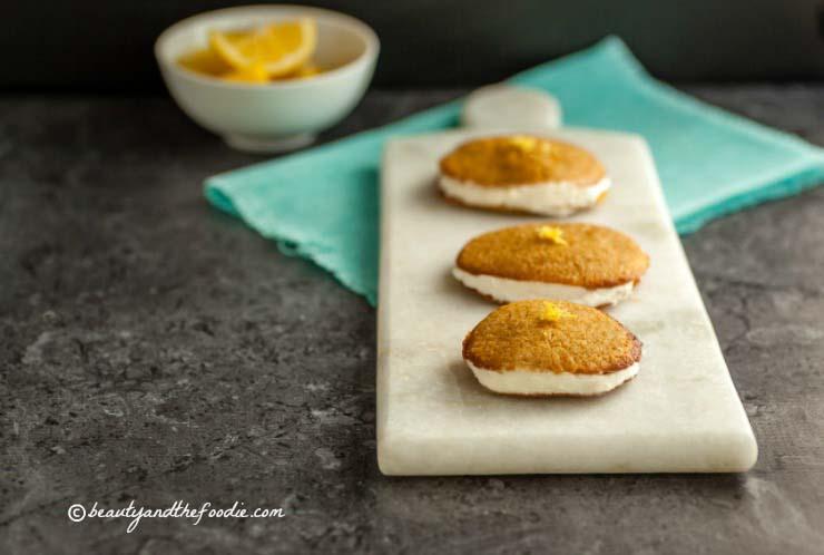 Paleo Lemon Cream Sandwich Cookies grain free with low carb version