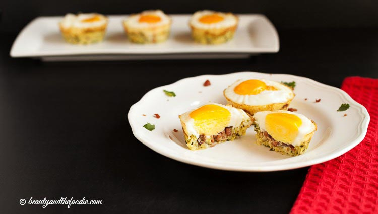 Egg Bacon Zucchini Nests, grain free, low carb and paleo