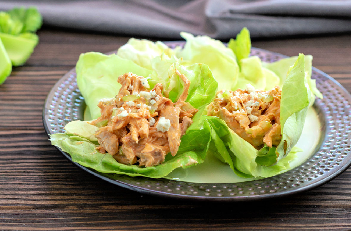 buffalo chicken salad in lettuce cups with blue cheese.