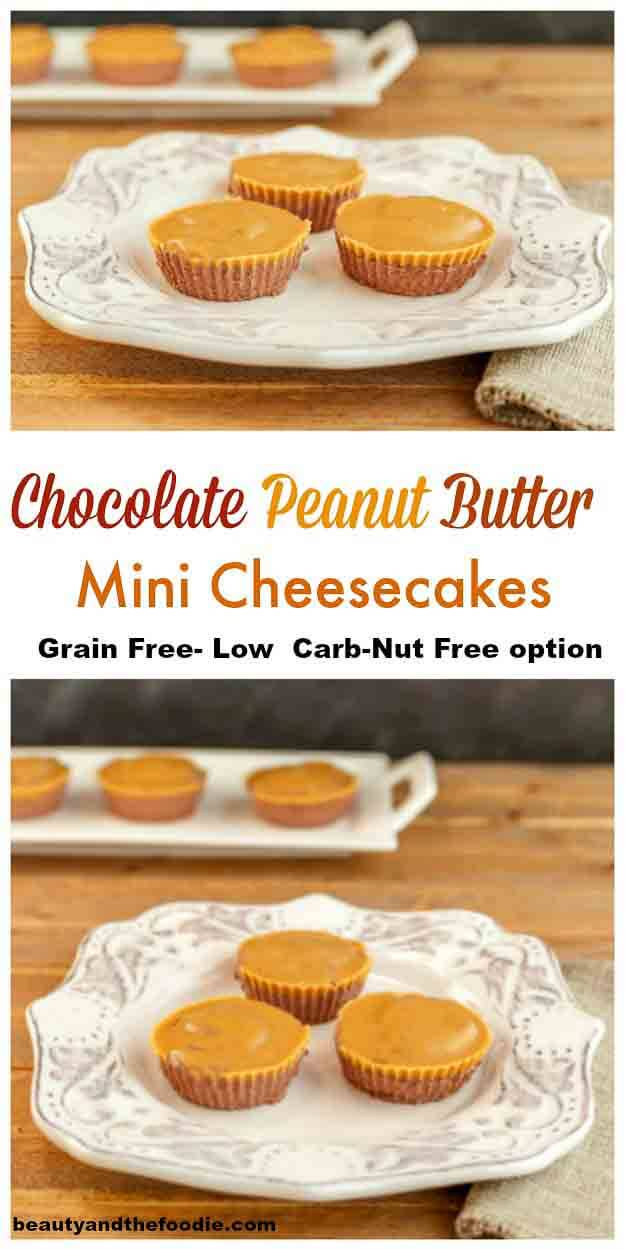 Chocolate Peanut Butter Mini Cheesecakes- grain free, no bake, low carb, with nut free option