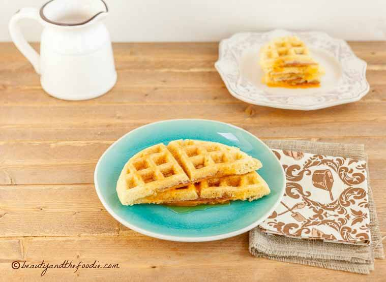 Low Carb Ham and Cheese Stuffed Waffles, grain free, gluten free and low carb