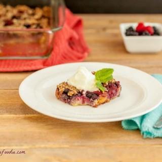 Berry Pie Crumble Squares, grain free, paleo, low carb, & gluten free