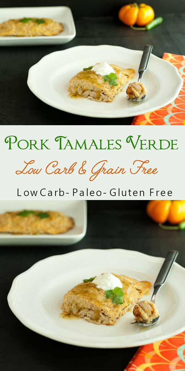 Low Carb Pork Tamales Verde- grain free, low carb and paleo.
