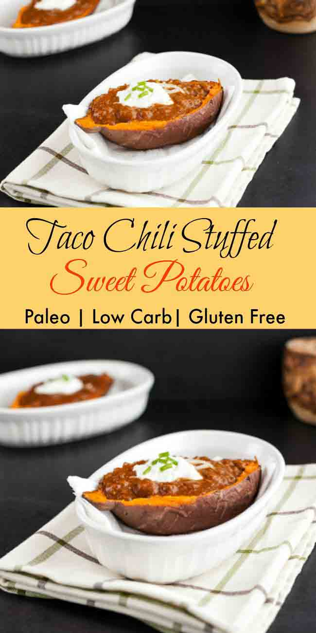 Taco Chili Stuffed Sweet Potatoes. grain free, paleo, low carb