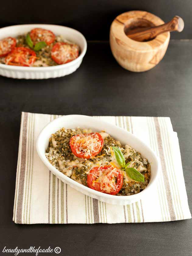 Chicken Pesto Cauliflower Rice Bake, grain free, low carb and paleo option
