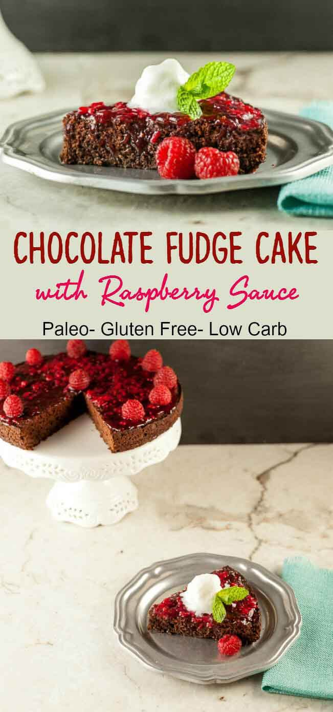 Chocolate Fudge Raspberry Sauce Cake, Low Carb and Paleo version