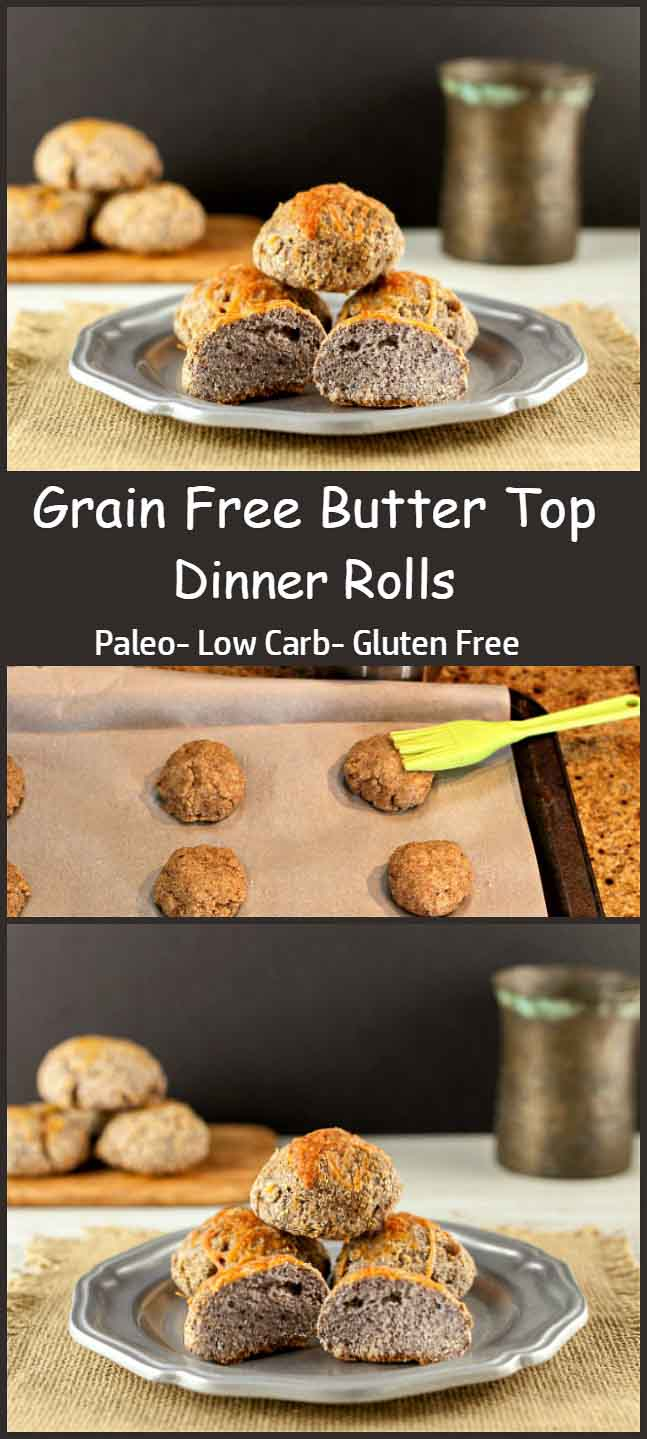 Grain Free Butter Top Dinner Rolls. Butter topped, low carb, keto, paleo dinner rolls. Yum!