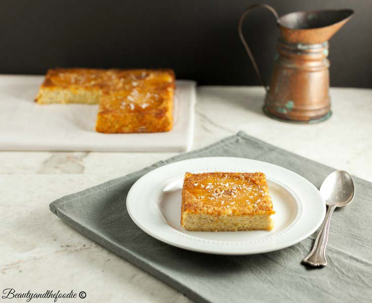 Paleo Pina Colada Upside Down Cake, A Grain free, tropical upside down cake.