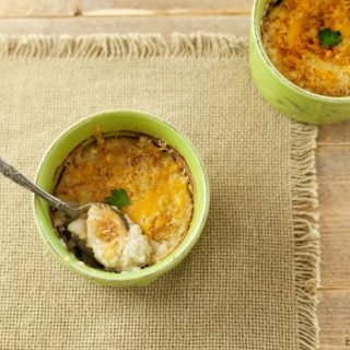 Baked Garlic Cauliflower Mash with Cheese Crust