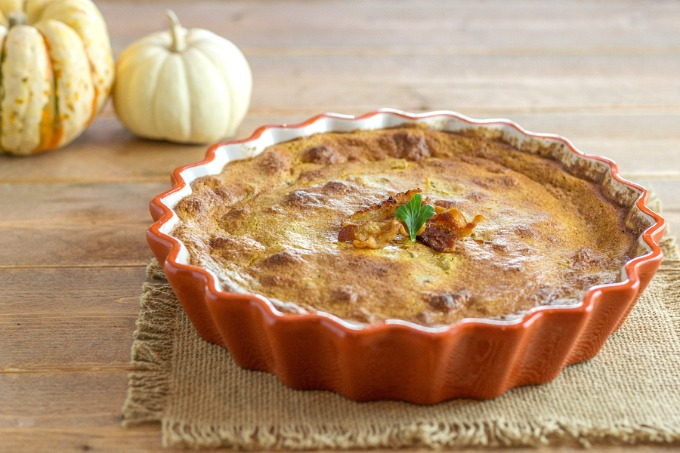 Savory Bacon Pumpkin Mock Souffle- Gluten free, Low Carb and Primal.