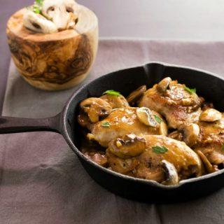 One Pan Chicken Garlic Mushroom Saute- An easy paleo, low carb, one pan wonder meal.