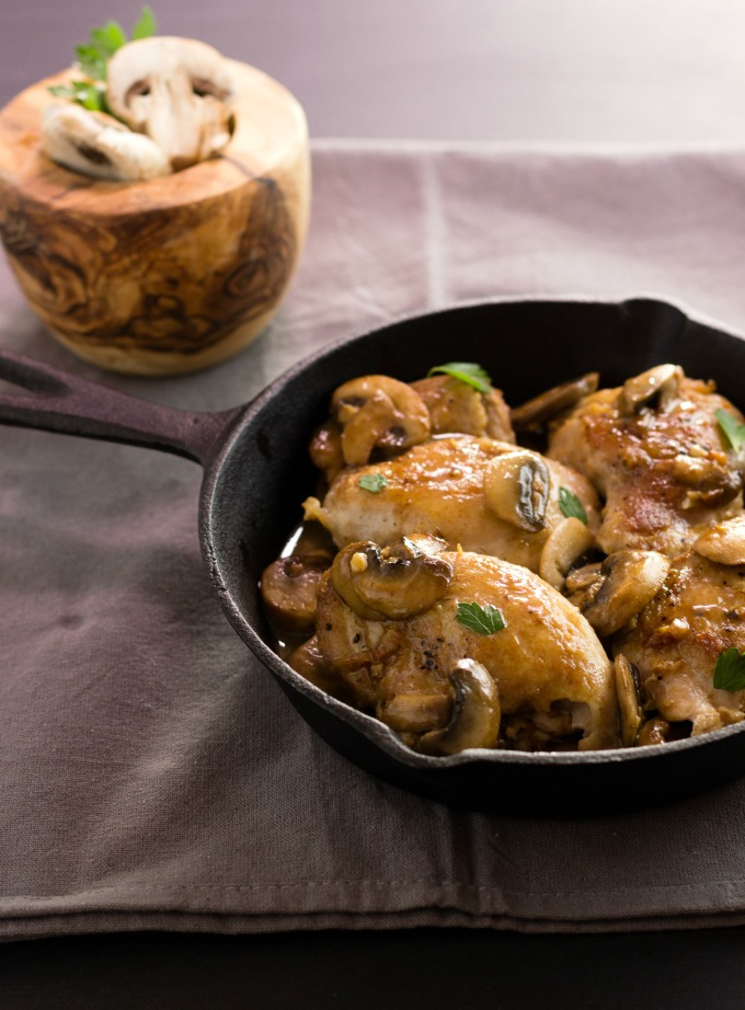 One Pan Chicken Garlic Mushroom Saute- An easy paleo, low carb, one pan wonder meal.