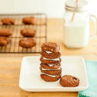 Double Chocolate Nut Butter Cookies -Low carb and paleo. Chocolate nut butter cookies with chocolate chips. Yum!