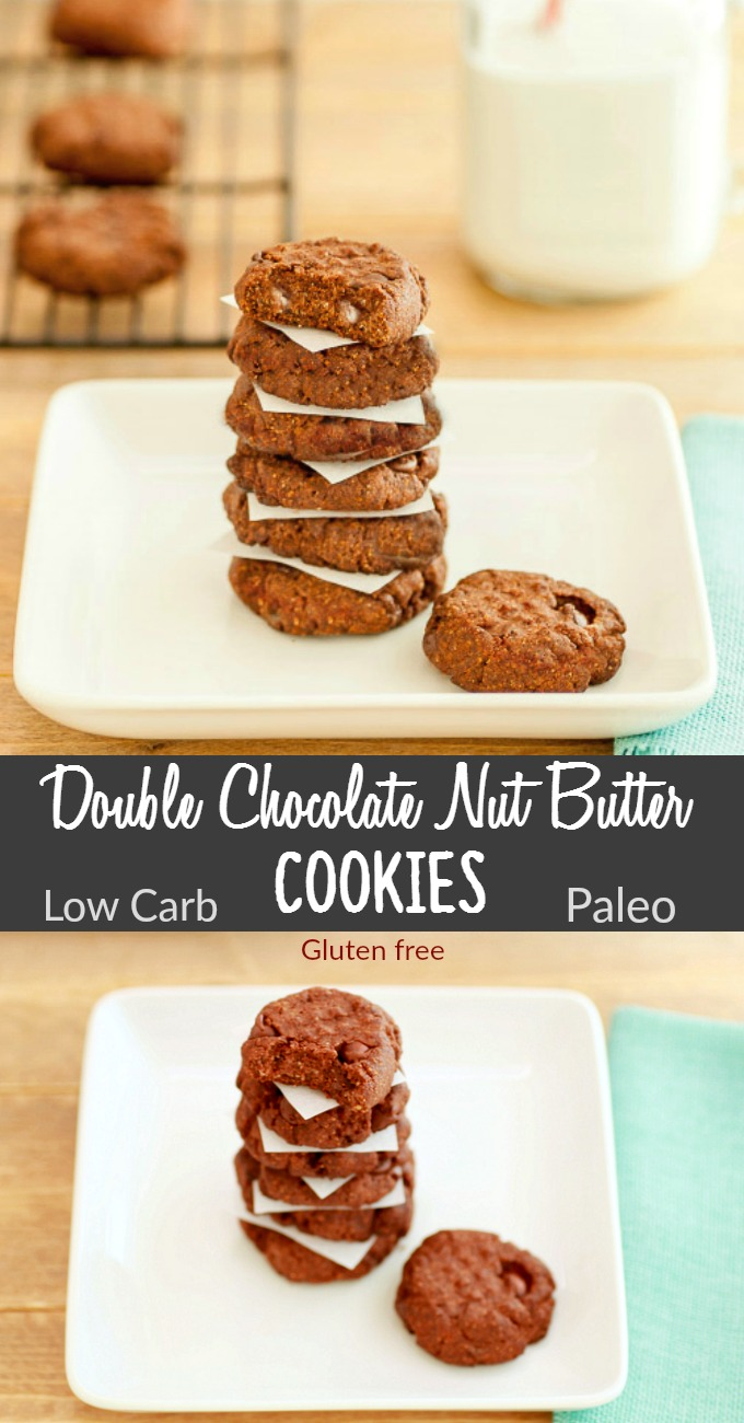 Double Chocolate Nut Butter Cookies- Low Carb & Paleo