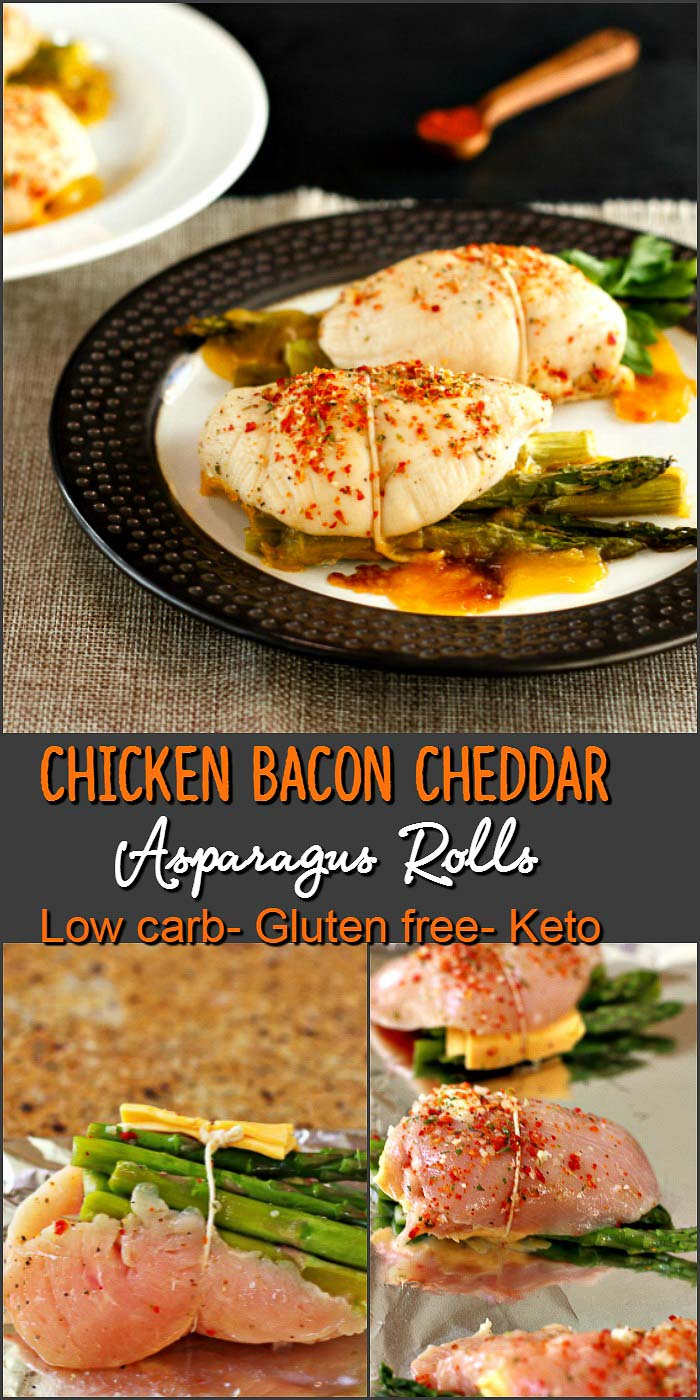 Cheddar Bacon Asparagus Chicken Rolls- Low carb, primal and gluten free. Easy to make and super tasty!