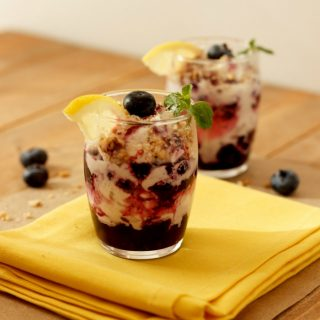 Easy Berry Lemon Cream Parfaits- Low Carb, no bake, paleo, gluten free, and vegan dairy free option.