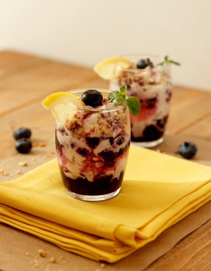Easy Berry Lemon Cream Parfaits Low Carb, no bake, paleo, gluten free, and vegan dairy free option.