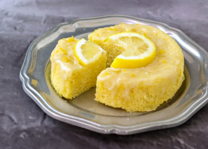 3 Minute Lemon Poke Cake Low Carb & Paleo.