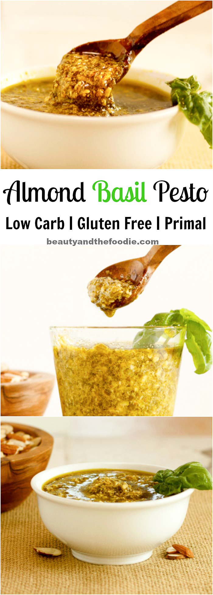 Almond Basil Pesto Sauce Low Carb, gluten free and paleo.