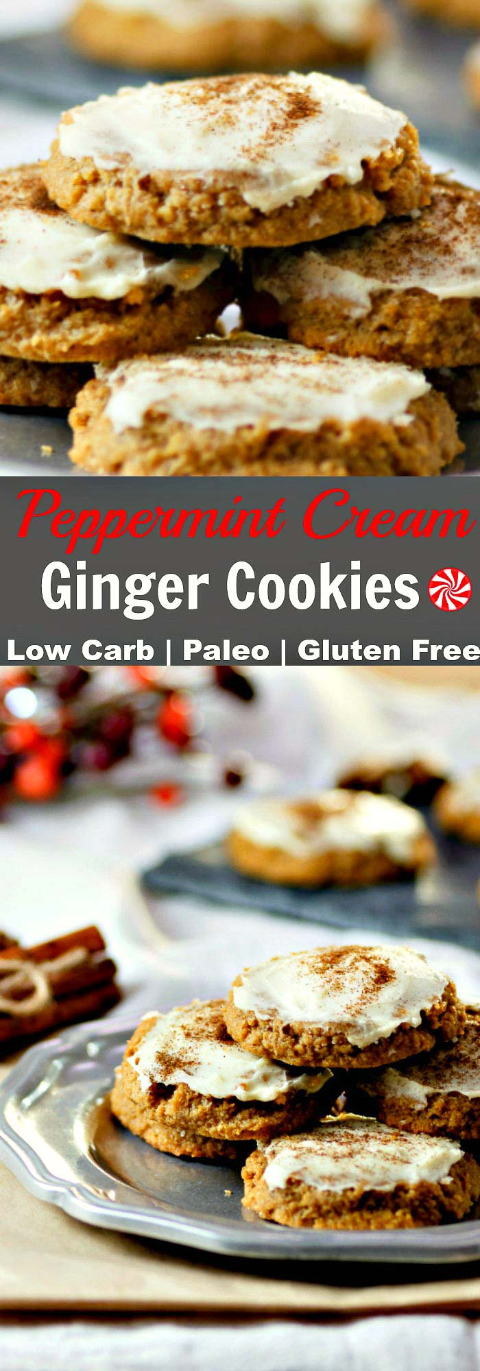 Peppermint Cream Ginger Cookies Low Carb & Paleo