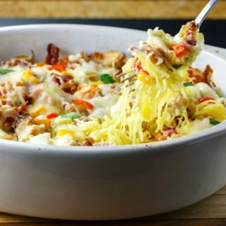 Bacon Chicken Alfredo Squash Noodle Bake