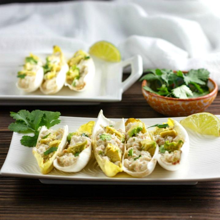 Shrimp Salsa Verde Salad Boats are paleo , low carb, shrimp salsa verde salad in endive boats.