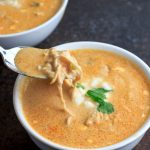 Low Carb Instant Pot Chicken Salsa Queso Soup- low carb, keto and gluten free. Also includes slow cooker directions.
